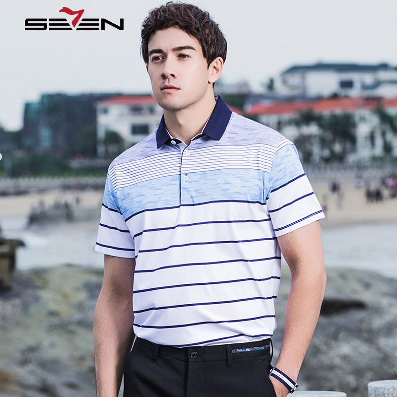 Seven7 Men Polo Shirts Summer Short Sleeve Business Casual Polo Shirts Classic Striped Block Color Basic