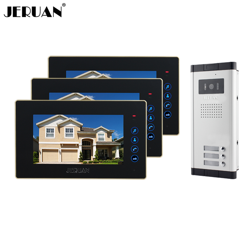 JERUAN Brand New Apartment Intercom 7 inch LCD Touchkey Video Door Phone Doorbell intercom System for 3 house 1V3 brand new apartment intercom 7 inch lcd screen video door phone doorbell intercom system 1v 10 for 10 house free shipping