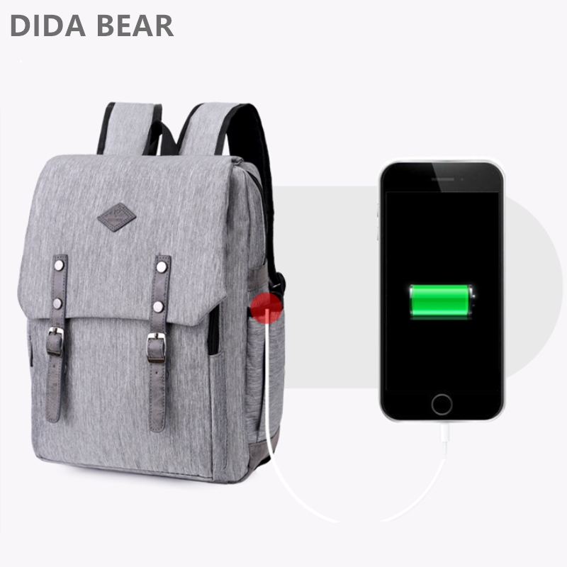DIDA BEAR 2018 USB Charging Backpack Men Laptop Backpacks For Teenagers Male Mochila Waterproof Travel Backpack Large School Bag new gravity falls backpack casual backpacks teenagers school bag men women s student school bags travel shoulder bag laptop bags