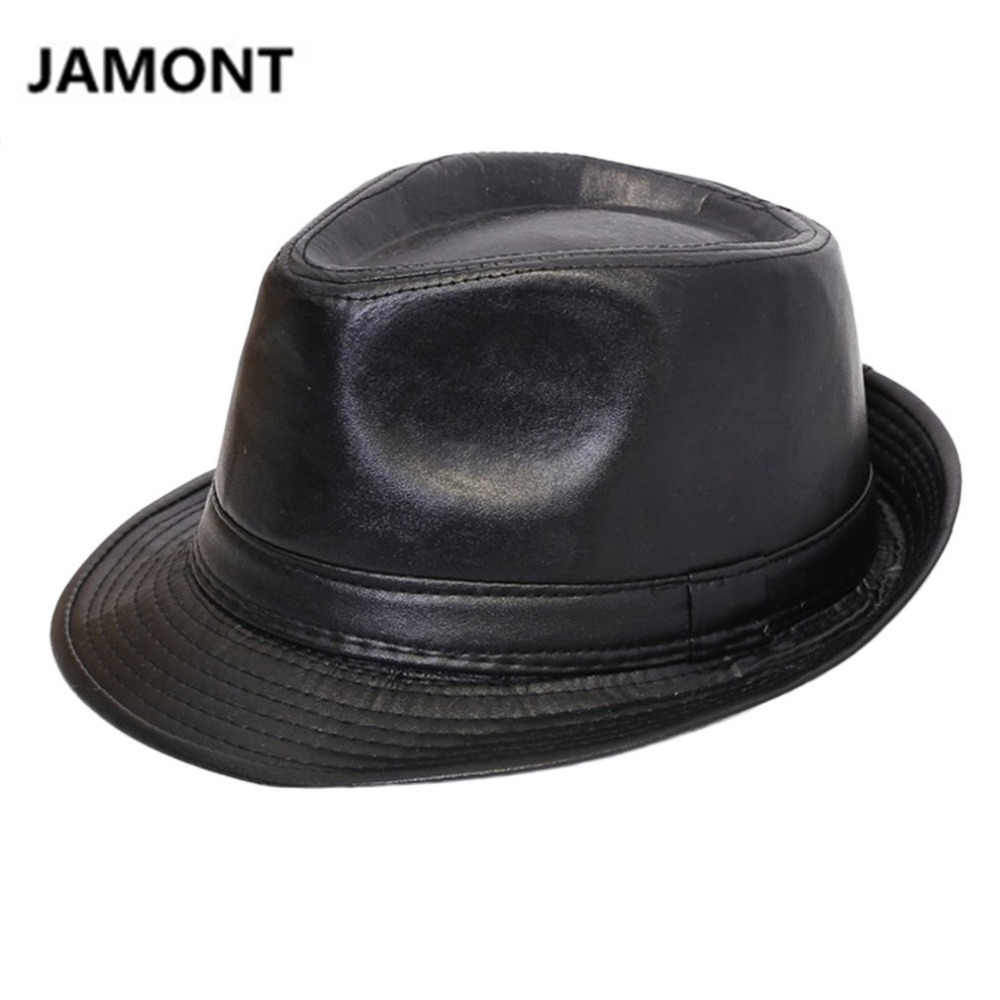 c58a417efd1 Autumn Winter Men Women Classic PU Leather Fedora Hat British Style Panama  Bowler HAT Cowboy Gentleman