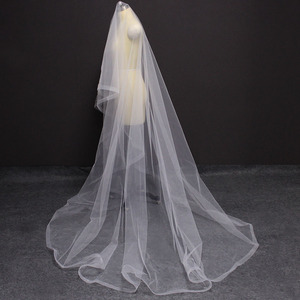 Image 3 - Long Horsehair Edge 3 Meters Wedding Veil WITHOUT Comb One Layer Cover Face Bridal Veil Velo de Novia