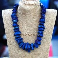Mavi Titanyum Taş Kolye, kristal Kuvars Nugget Boncuk Kolye, şifa Taş Takı Kadınlarda 18 Inç NM6690
