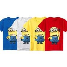 68d366032 UNIKIDS Hot Despicable Me Minions niños camisetas de dibujos animados niños  ropa Tops camisetas 100% algodón de manga corta niño.