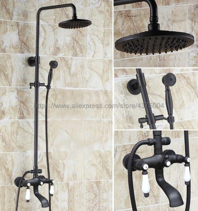 Ensemble de robinet de douche de pluie en laiton huilé noir Double poignées mitigeur de salle de bain baignoire bec pivotant douchette Nhg145