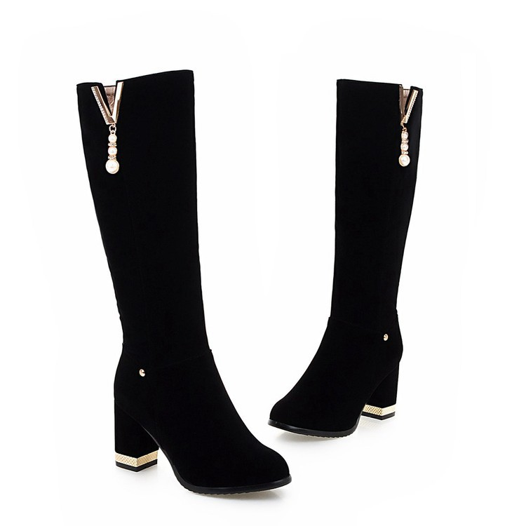 New Beaded Womens Large Size 40 High-heeled Suede Black Knee High Boots Autumn And Winter 7cm14