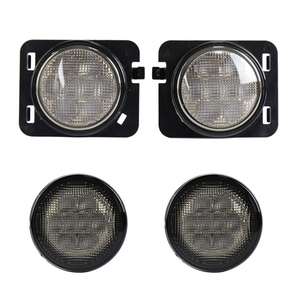 1 Pair 4 Pcs LED Front Fender Flares Parking Turn Lamp Bulb Indicator for Wrangler Front Turn Signals for Off Road Accessories 1pair led side maker lights for jeeep wrangler amber front fender flares parking turn lamp bulb indicator lens