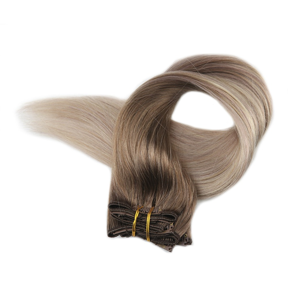 Full Shine Blonde Clip In Human Hair Extensions Ombre Color 8 Fading To 60 And 18 10Pcs 100g Blond Roots Remy Clip In Extensions
