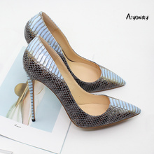 Aiyoway 2019 Women Shoes Ladies Pointed Toe High Heels Pumps Autumn Spring Party Clubwear Slip-On Silver Red Snake Pattern