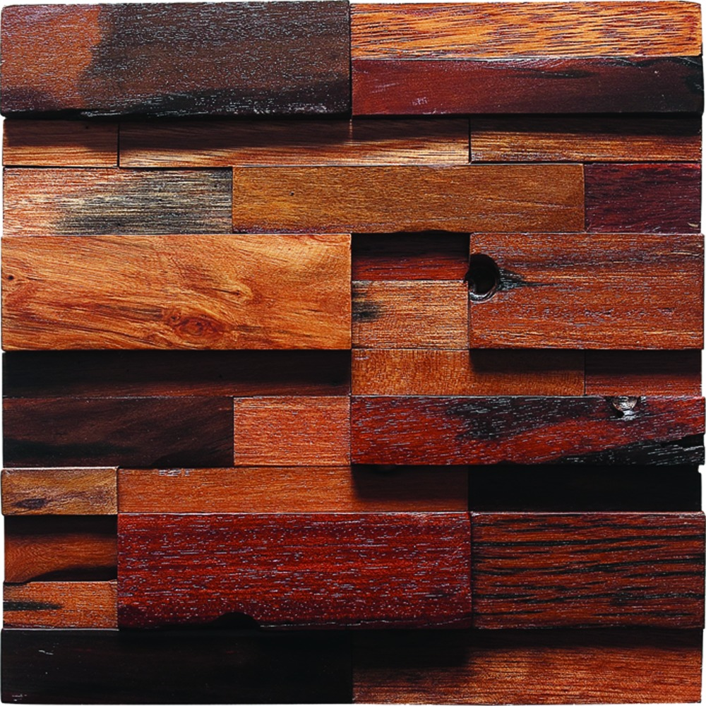 Archaistic Wooden Craft Tiles Country Style Mosaic Tiles Wall Deco