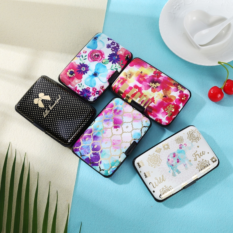 New Hot 1PC RFID Block Aluminium printed Holder Security Wallet Bank Credit Card Hard Ca ...