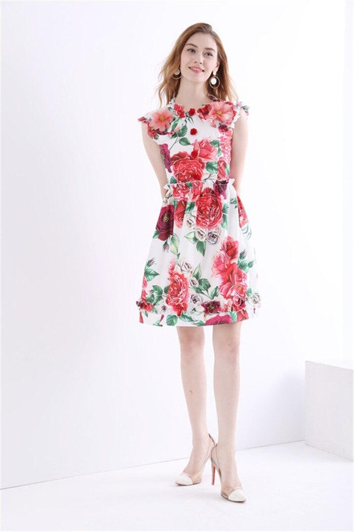 3d floral imprimé robes femmes solide appliques fleur sans manches robe de réservoir 2018 été de haute qualité dames marque vêtements xl