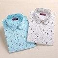 Новая Мода Цветочные Женщин Блузки С Длинным Рукавом Хлопок Женщины Рубашки Повседневные Дамы Топы Печати Блузки Рубашки Плюс Размер 5XL