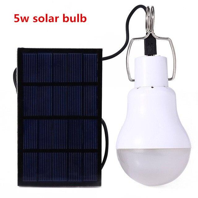 5w Solar Powered Portable Led Bulb Lamp Solar Energy Lamp led Lighting Solar Panel Camp Nightfair Travel Used 5-6hours