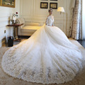 Elegant New A-line Wedding Dresses 2015 Sweetheart Three Quarter Sleeves Bridal Gown with Appliques robe de mariage