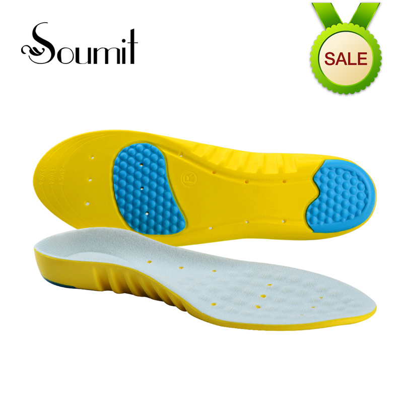 Soumit Comfor Gel Heel Arch Support Insoles Massage for Men Women Athletes Sport Running Shoes Remove Odors Cushion Insoles Pads цена