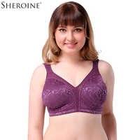 Sheroine Full Coverage Wire Free Lace Embroidery Unlined Bra Women Plus Size Bralette