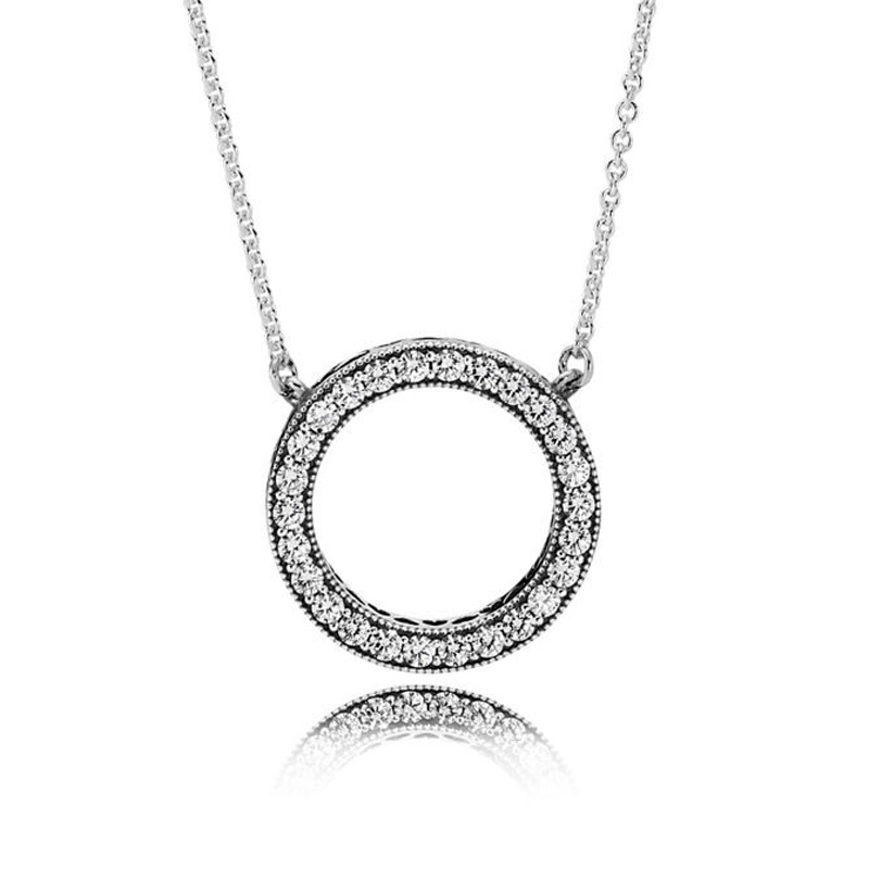 New 925 Sterling Silver Necklace Accented Circular Hearts Of Collier Necklace For Women Wedding Gift Pandora DIY Jewelry