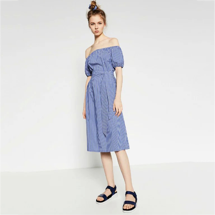 df23e81b7dc0 Women Off shoulder Blue And White Striped Dress Summer 2016 Women Preppy  Cute Slash Neck Dress Shirt Casual Midi Vestidos Belt-in Dresses from  Women s ...