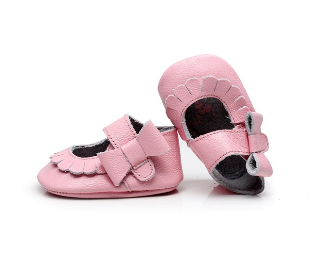 Nova bolsa em Couro Genuíno Não-deslizamento side bow mary jane Infantil Baby verão Sapatos Da Criança Macio Moccs 10.5 cm-14.5 cm lado flor