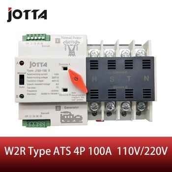 Jotta W2R-4P 110 V/220 V Mini ATS Automatische Overdracht Schakelaar 100A 4 P Elektrische Selector Schakelaars Dual Power schakelaar Din Rail Type