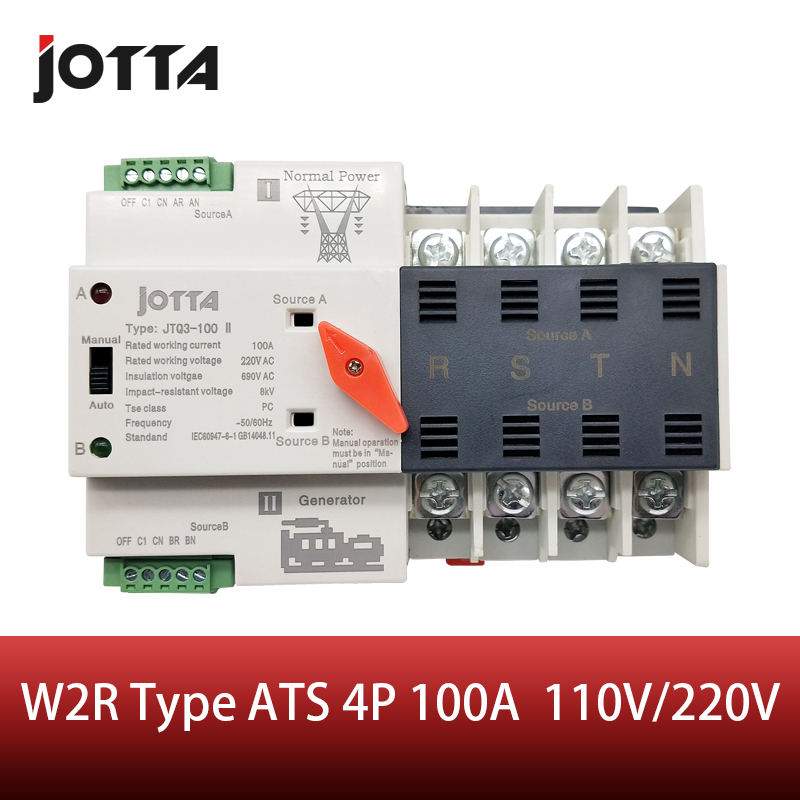 Jotta W2R-4P 110V/220V Mini ATS Automatic Transfer Switch 100A 4P Electrical Selector Switches Dual Power Switch Din Rail Type Jotta W2R-4P 110V/220V Mini ATS Automatic Transfer Switch 100A 4P Electrical Selector Switches Dual Power Switch Din Rail Type