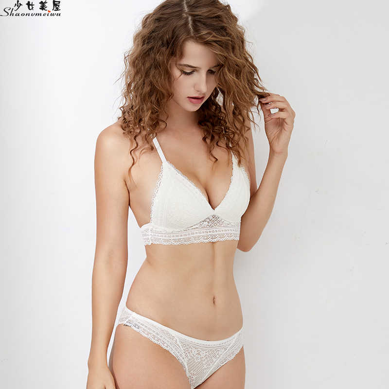 bda0ca485fec ... Shaonvmeiwu Underwear bra set beauty back gathers small chest sexy  without steel ring thin shoulder strap ...