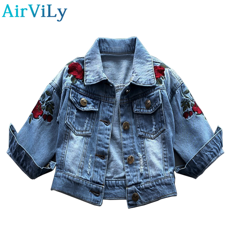 2017 hot sale full new girls jacket autumn winter rose flower embroidery vintage jeans jackets for girl toddler baby Oxford