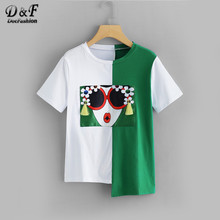 Dotfashion Fringe Detail Asymmetric Hem T-Shirt 2019 Summer Round Neck Short Sleeve Top Ladies Casual Asymmetrical Tee Shirt(China)