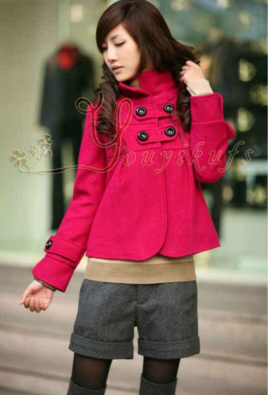 Nieuwe Collectie mode Wollen outerwears Vrouwen herfst en winter kleding stand kraag wol mix korte jas bovenkleding maat M, L