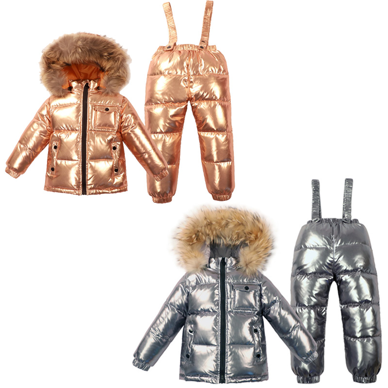 2~6Y child Russian Down Winter Ski Clothing Set baby Real Fur Jacket for Girl Snowsuit Boy Outwear Shiny Gold  Champagne Silver2~6Y child Russian Down Winter Ski Clothing Set baby Real Fur Jacket for Girl Snowsuit Boy Outwear Shiny Gold  Champagne Silver