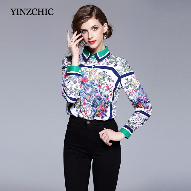 e62b8d6358a11a New 2018 Womans Printed Blouses Office Lady Regular Blouse Work Full Sleeve Print  Shirt For Woman