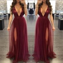 Gauze Loose Sequin Deep V Strap Mesh Dress