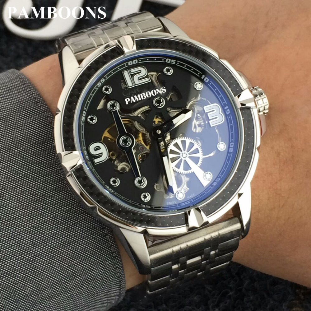 Wrist Watch Men 2018 Top Brand Luxury Male Famous Clock Automatic Mechanical Watches Calendar Date Tourbillon + BOX 2017 gold watches men automatic watch day date calendar display high quality mechanical tourbillon watch luxury brand clock male