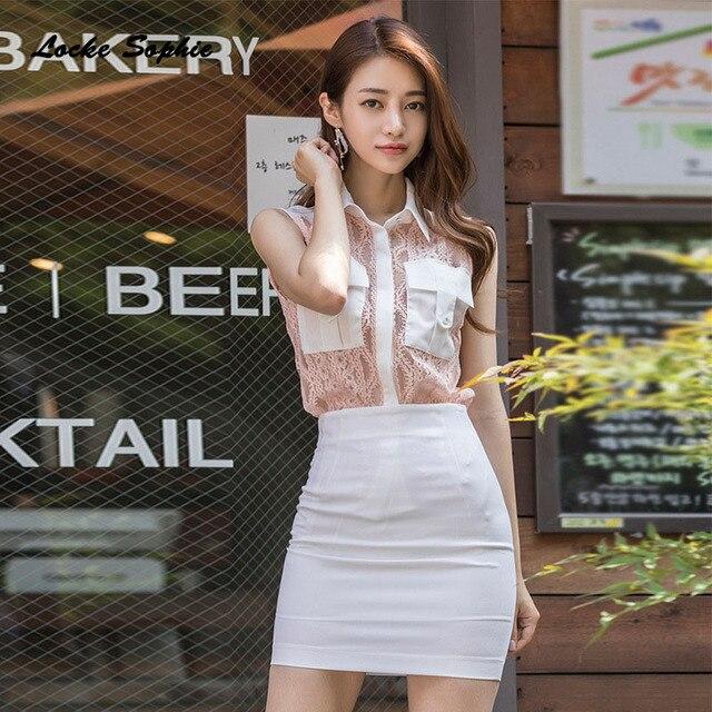 5b5f718edd7a 2 piece set women s Plus size shirts and skirts 2018 Summer Lace ...