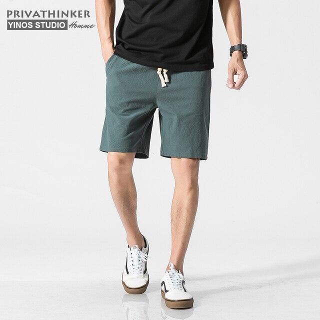 bda93cee41 Privathinker Marca Branca Placa de Calções De Linho De Algodão Homens  Calções de Verão Masculino Bermudas