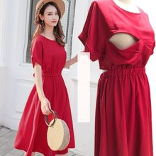 2019 Summer Maternity Nursing Dresses Breast Feeding Clothes Pregnancy Breastfeeding Dresses Clothing For Pregnant Women Vestido(China)