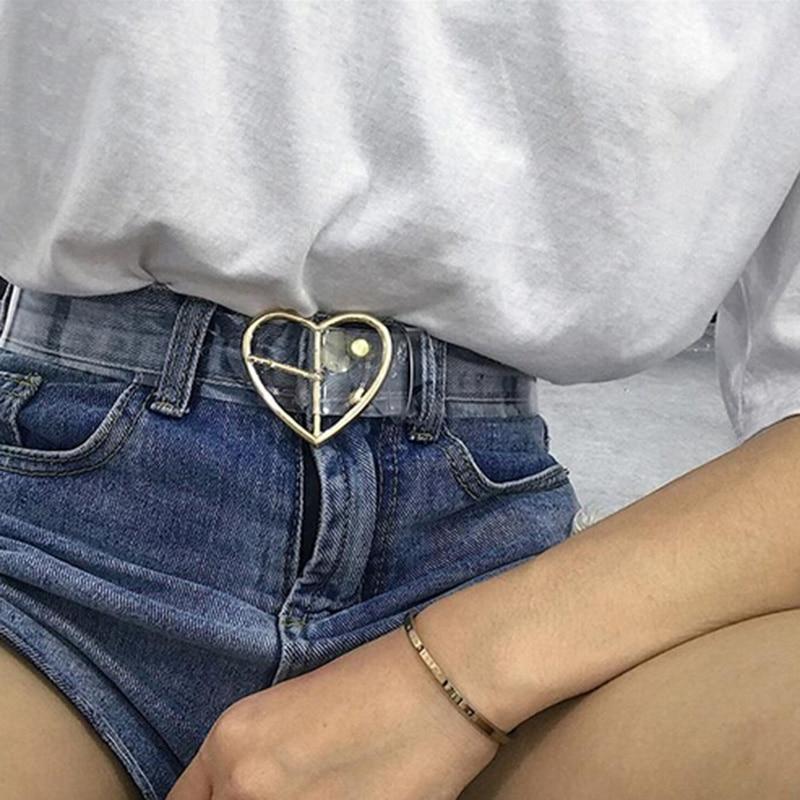 Waist Belts Women Resin Transparent Long Belt Adjustable Waist Dress band Belt Heart Buckle Cinturon Mujer Cinturones Para Hombr