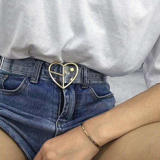 Women's Transparent Belt With Heart Buckle