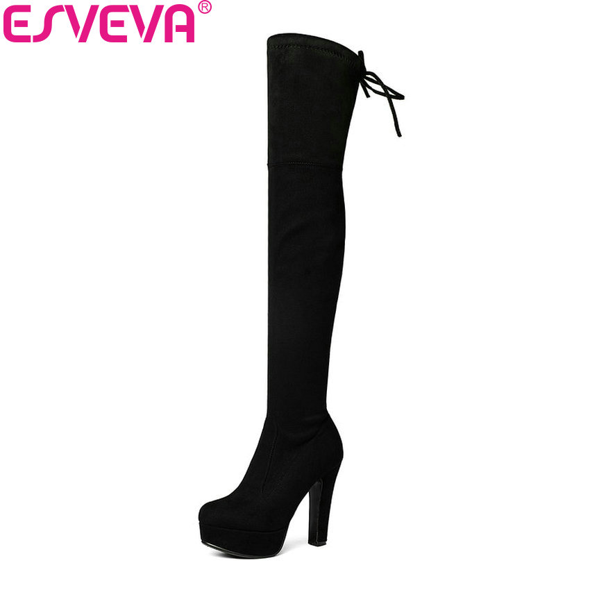 ESVEVA 2017 Over The Knee Boots Sexy Super High Heel Women Boots Ladies Stretch Fabric Winter Autumn Fashion Boots Size 34-43 esveva 2017 western style flock women boots over the knee boots winter square high heel ladies lace up fashion boots size 34 43