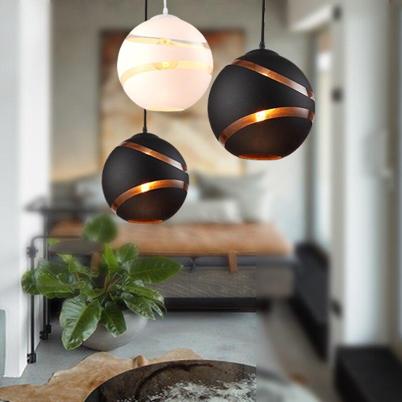 Новый стиль Nordic Ретро Простой E27 лампы Кулон лампы черный, белый цвет Стекло шар потолочный светильник для ресторана Кафе Магазин Обеденная
