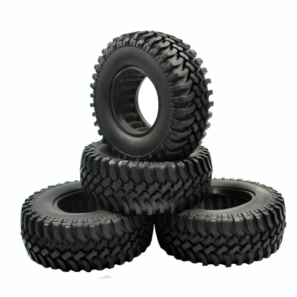 4pcs 100MM Rock Crawler Tires Tyre For 1/10 RC Off-Road Car RC4WD D90 D110 AXIAL SCX10 1.9 Inch Wheel Rim купить в Москве 2019