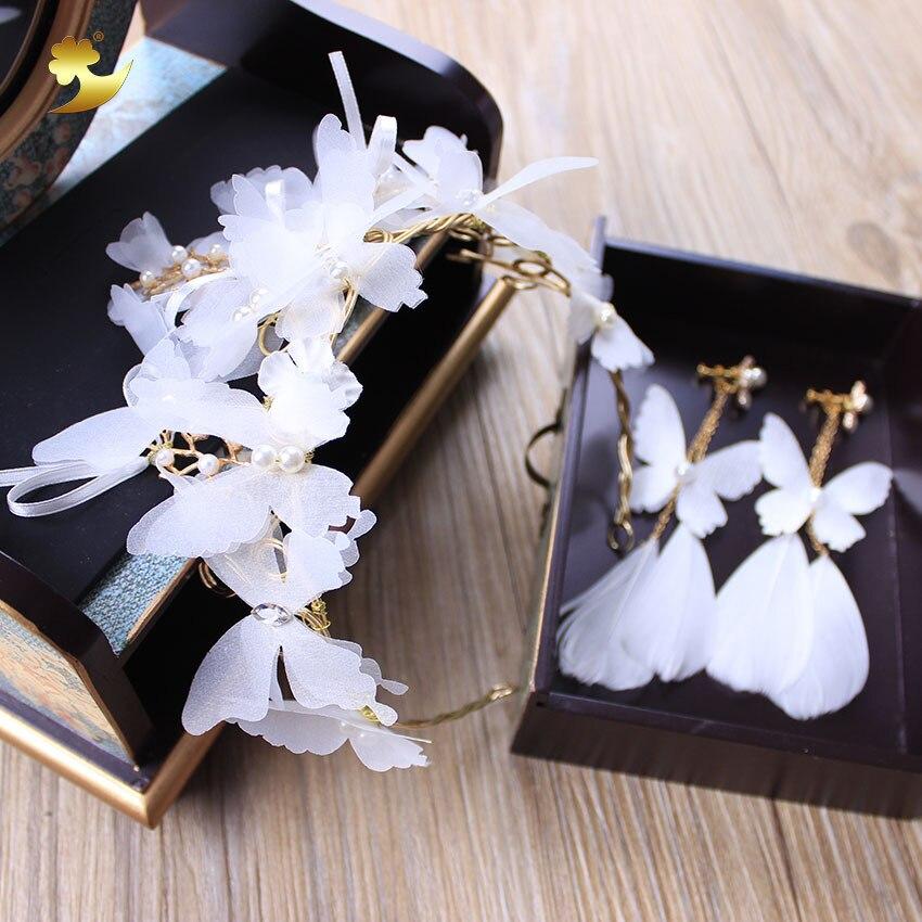 2017 new bride headdress handmade white crepe flower tiara earrings yarn flower crown for brides wedding hair accessories