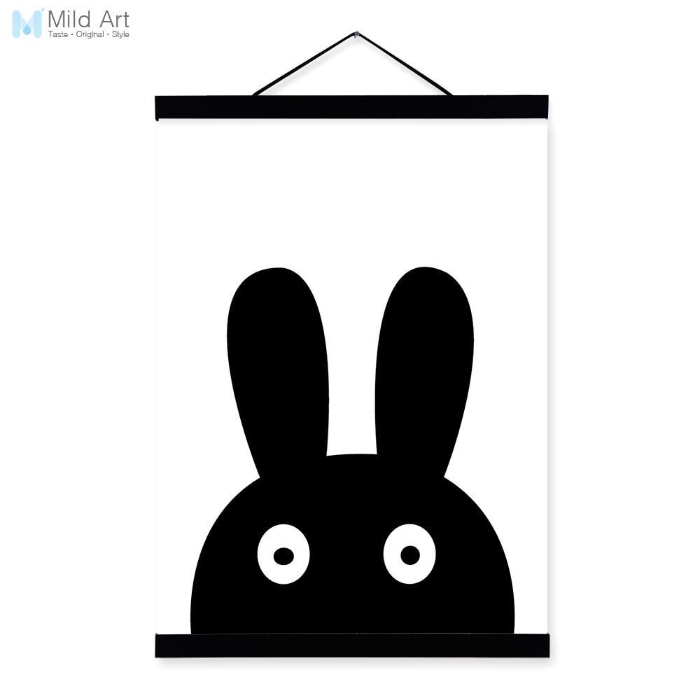 ④Minimalista negro blanco nórdico conejo historieta Animal cabeza ...
