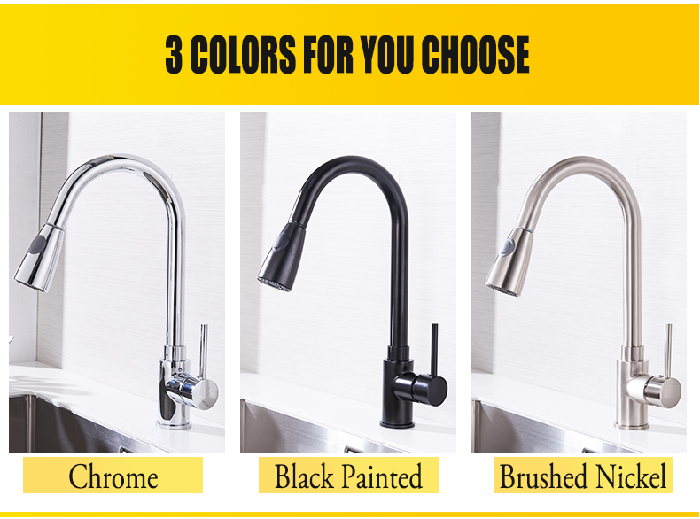 Kitchen Faucets Silver Single Handle Pull Out Kitchen Tap Single Hole Handle Swivel 360 Degree Water Mixer Tap Mixer Tap 408906 12