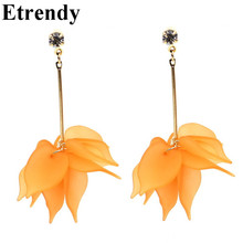 Simple Elegant White Orange Big Flower Long Earrings For Women Bijoux Zircon Gold Plated Fashion Jewelry  a suit of elegant faux gem white gold plating alloy flower shape necklace and earrings for women