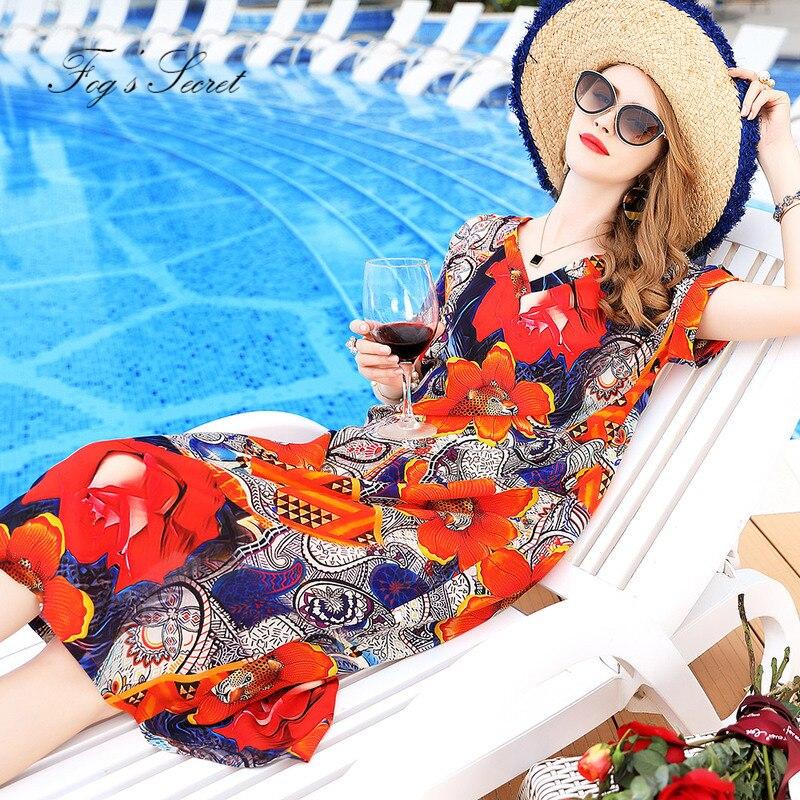 Big Flower Dresses For Women Real silk Loose Long Dress Plus size Unique Tribe Clothes XXXL XXl L Size