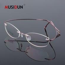 цена на Optical Glasses Frame Man woman Titanium Alloy Rimless Eyeglasses Frame Flexible Myopia Prescription Spectacle Frameless Q866