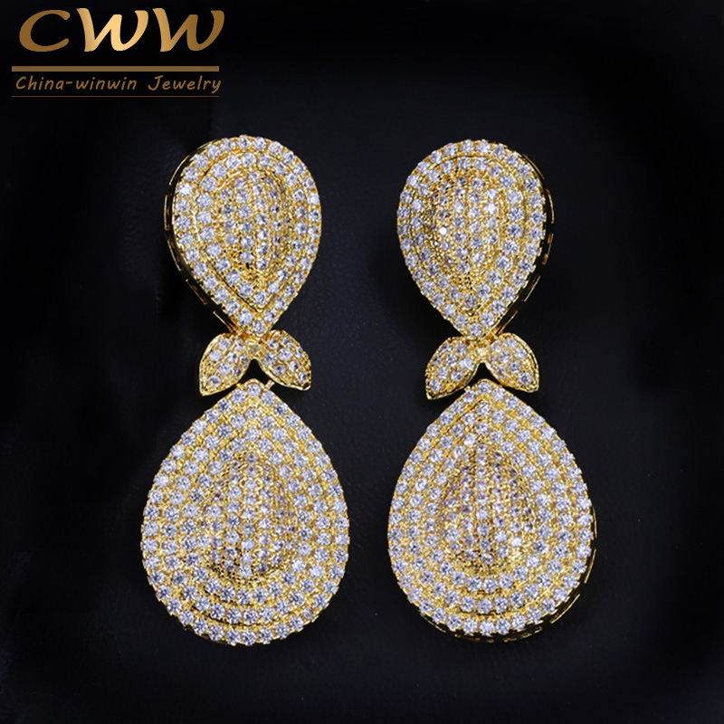 CWWZircons African Nigeria Design Jewelry Micro CZ Stones Pave Long Drop Dubai Gold Color Earrings For Women Party CZ266