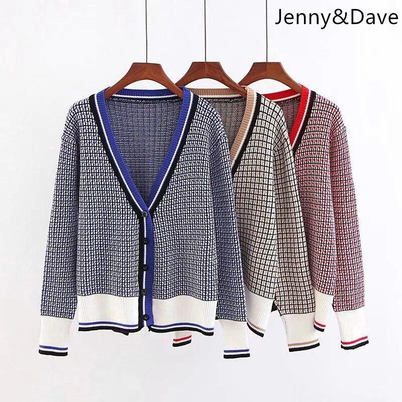 Jenny et Dave 2018 angleterre style pull hiver panneaux simple boutonnage poches plaid jachère cardigans femme coton pull 0906