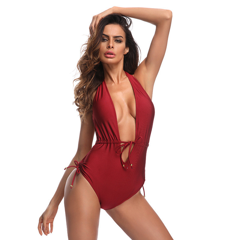 6435b6d03f SHUMEIZI V neck Bather 2018 Sexy ruffled frill trim one piece swimsuit  Women swimwear Female Bathing suit swim Halter monokini -in Body Suits from  Sports ...
